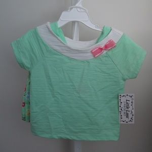 Cotton Rich Light Green Blouse/Floral Skort Set